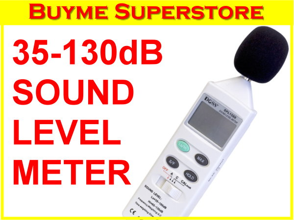 Buyme.com.au - DOSS SOUNDLEVELMETERMODEL:SPL1588 *Maximum, Data Hold, Fast/Slow response time functions *Frequency Range: 31.5Hz to 8KHz * Low range: 35 to 100dB *High range: 65 to 130dB*Accuracy: ± 3.5dB 1Kz @ 94dB * Resolution: 0.1dB *9 Volt Battery Powered *Built-in Calibration *Removeable wind shield *Battery low indicator*Built in calibration on front panel *Carry Case included *Hold function for storing the value on the display *Size: 253 x 64 x 29mm